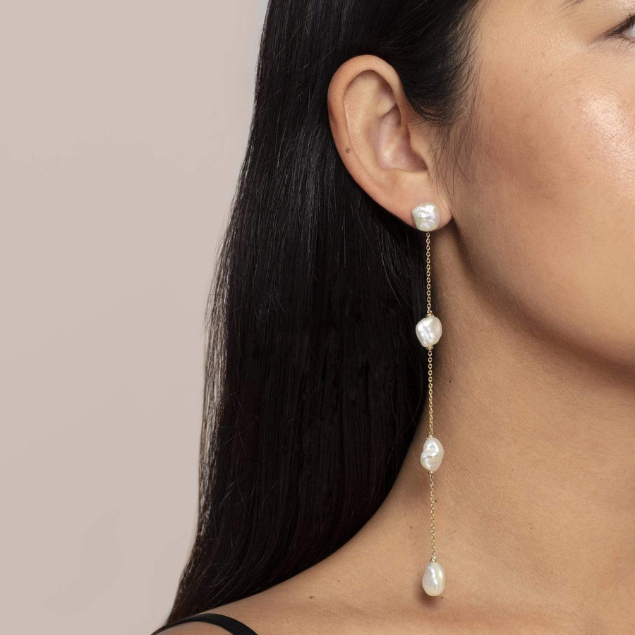 Solid Gold Pearl Earrings