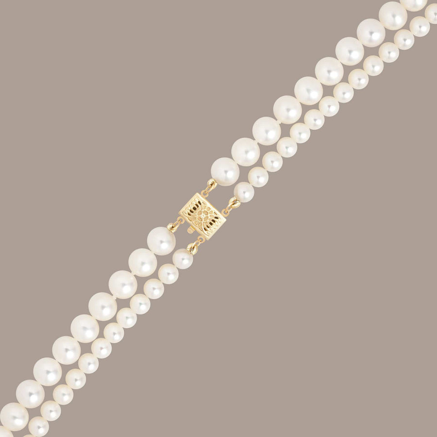 Maya double pearl necklace