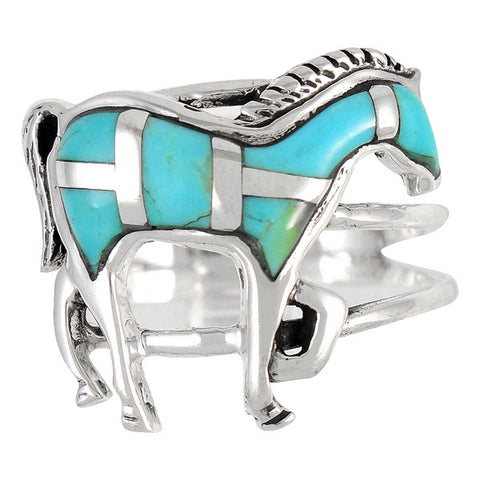 Turquoise Horse Ring in 925 Sterling Silver (Size 7)