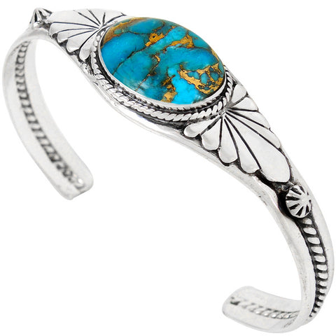 Turquoise with Genuine Copper in 925 Sterling Silver Bracelet