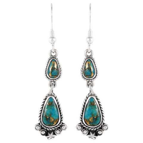 Genuine Turquoise with Copper Drop Earrings in 925 Sterling Silver