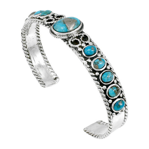 Genuine Turquoise Bracelet with Pyrite in 925 Sterling Silver