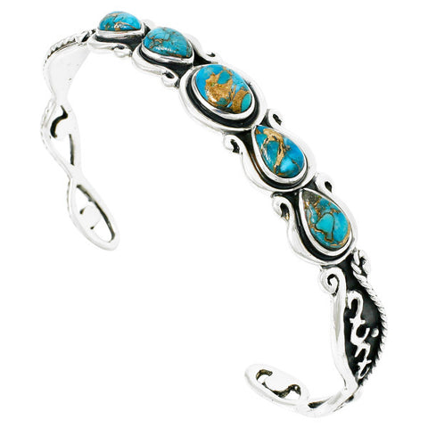 Turquoise Bracelet with Genuine Copper in 925 Sterling Silver