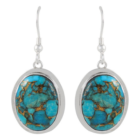 Genuine Turquoise with Copper Oval Earrings in 925 Sterling Silver