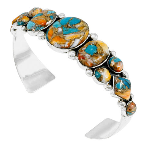 Turquoise and Spiny Oyster Shell Bracelet in 925 Sterling Silver