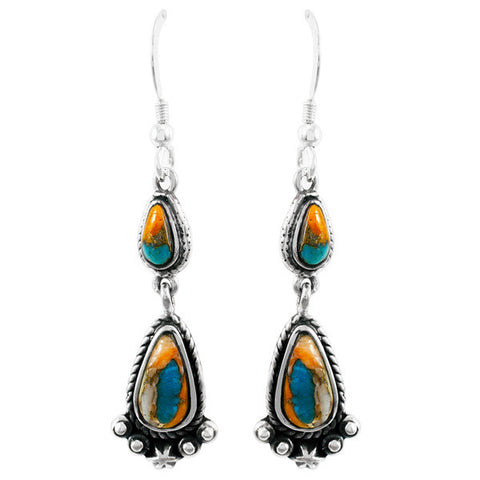 Turquoise with Spiny Oyster Shell Drop Earrings in 925 Sterling Silver