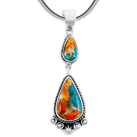 Turquoise with Spiny Oyster Shell Drop Pendant in 925 Sterling Silver