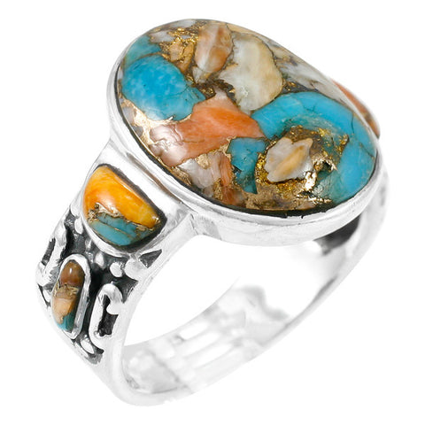 Turquoise with Spiny Oyster Shell Ring in 925 Sterling Silver (Size 7)