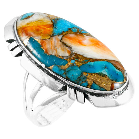 Turquoise with Spiny Oyster Shell Ring in 925 Sterling Silver (Size 6)