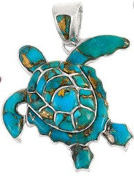 Turquoise Turtle Pendant with Copper in 925 Sterling Silver