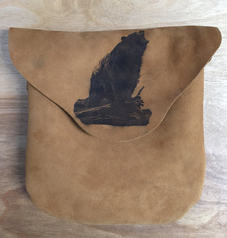 Etched Possibles Bag Brown Leather with Bear