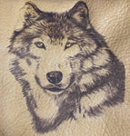 Etched Possibles Bag Light Brown Leather with Wolf