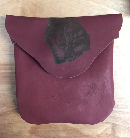 Etched Possibles Bag Red Leather with Wolf