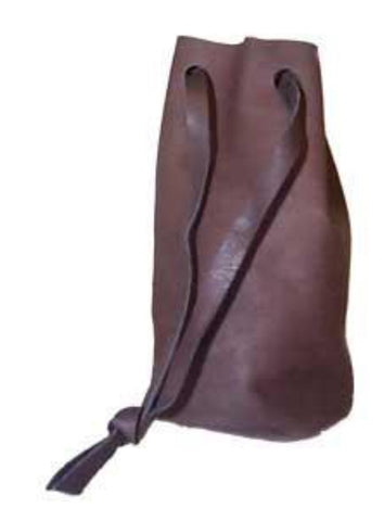 "Round Leather Bag with Flat Bottom  3 1/2"" x 5"""