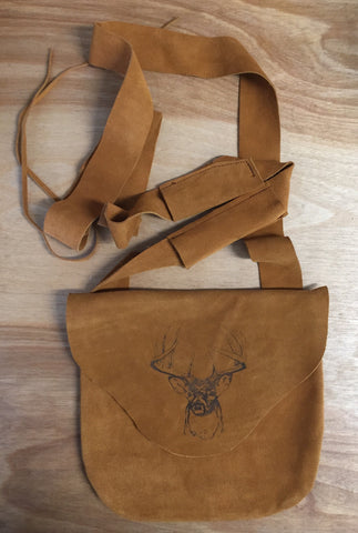 Etched Possibles Bag Brown Leather with Deer