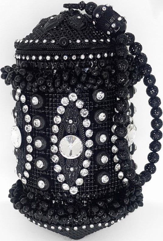 'Meliz' black metal & crystal wrist bag (interchangable straps)
