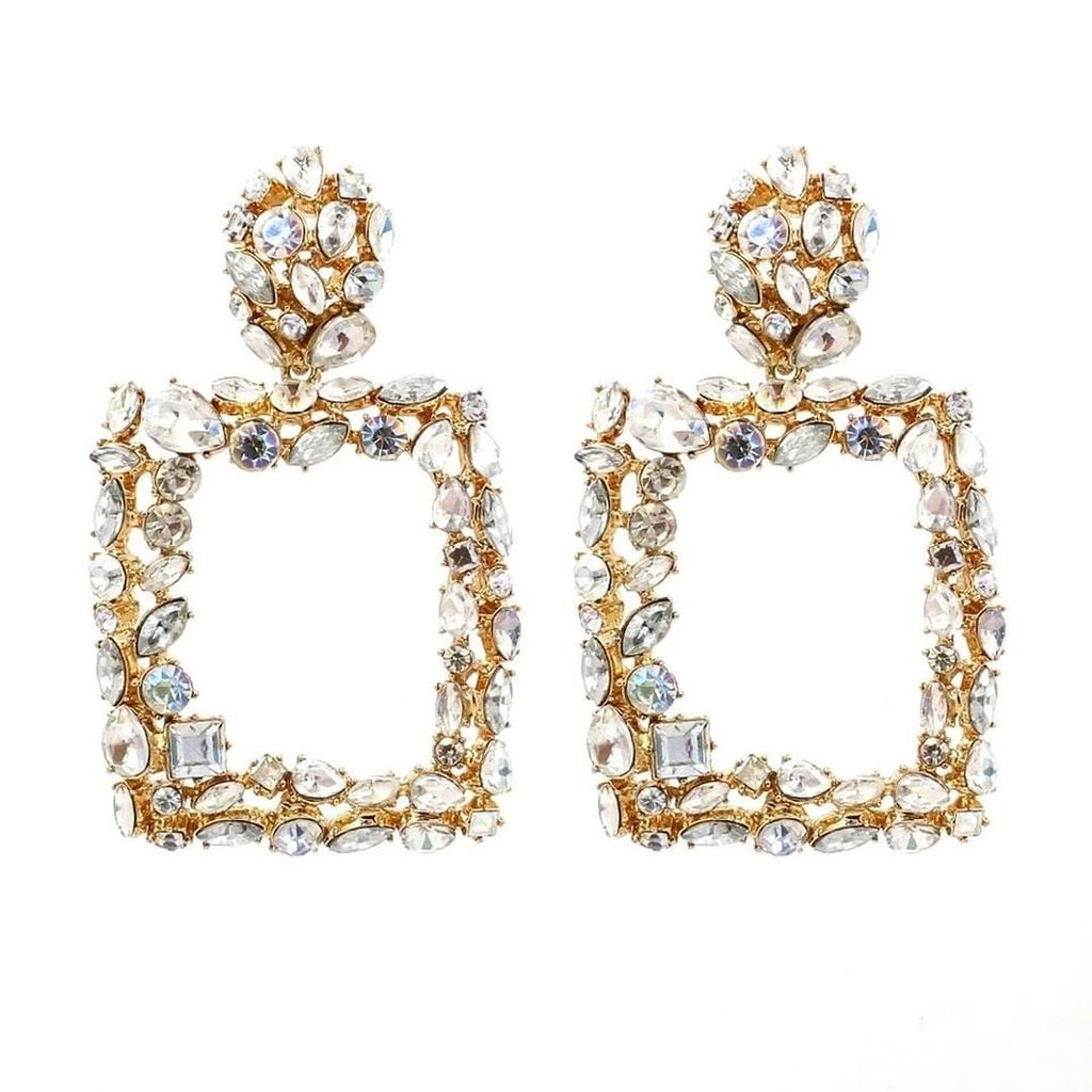 Gold diamante 'statement' earrings