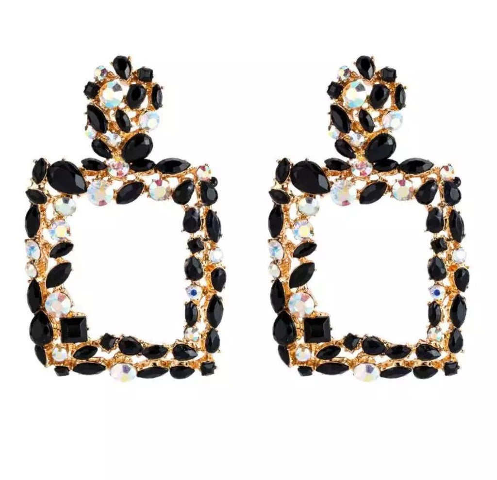 Gold black diamante 'statement' earrings
