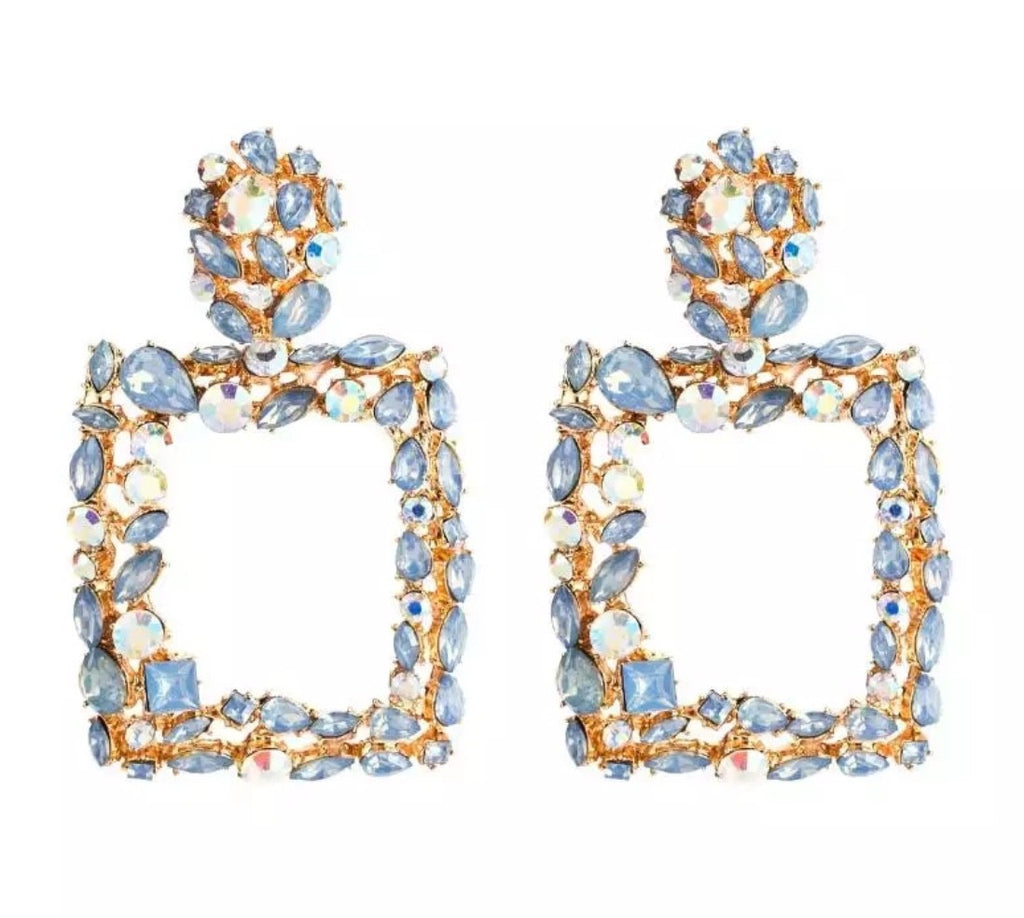 Gold blue diamante 'statement' earrings