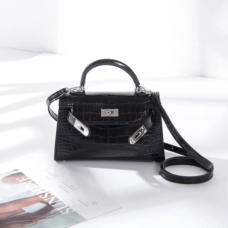 Black croc mini 'Kelly' bag