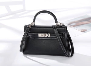 Black stitch mini 'Kelly' bag