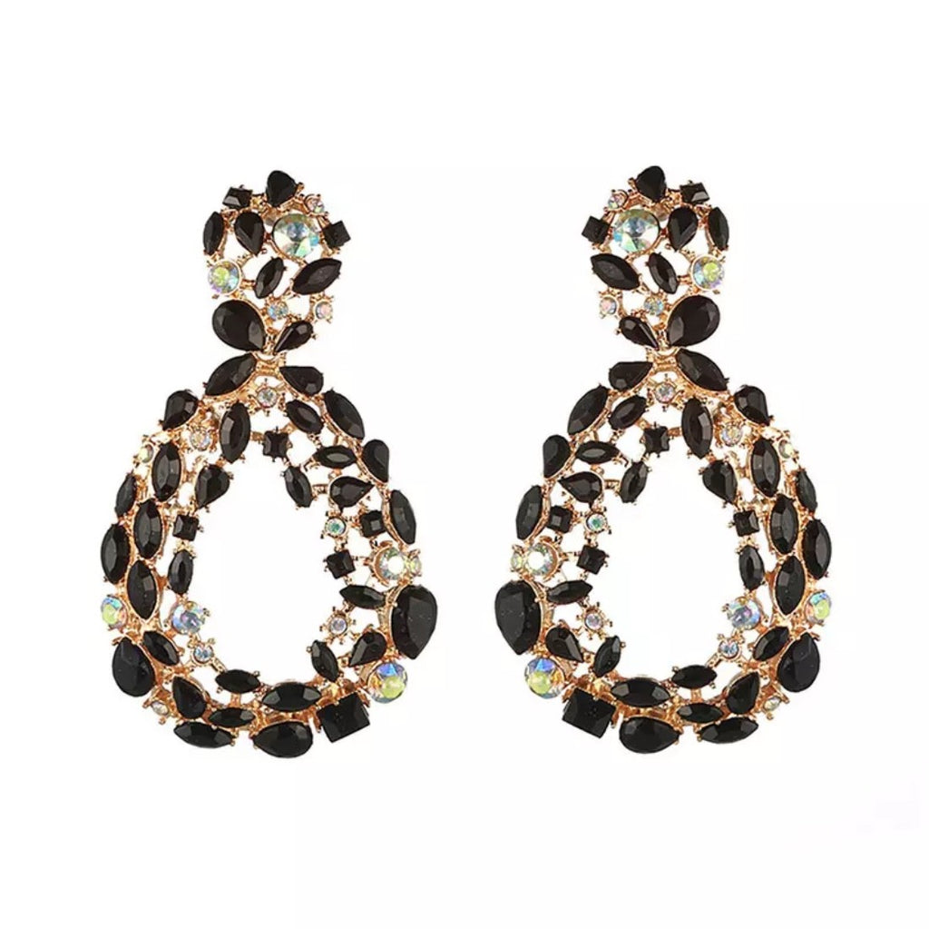 Black diamante pear drop 'statement' earrings