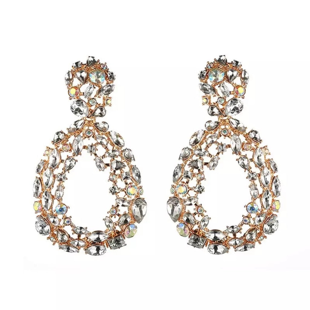Diamante pear drop 'statement' earrings