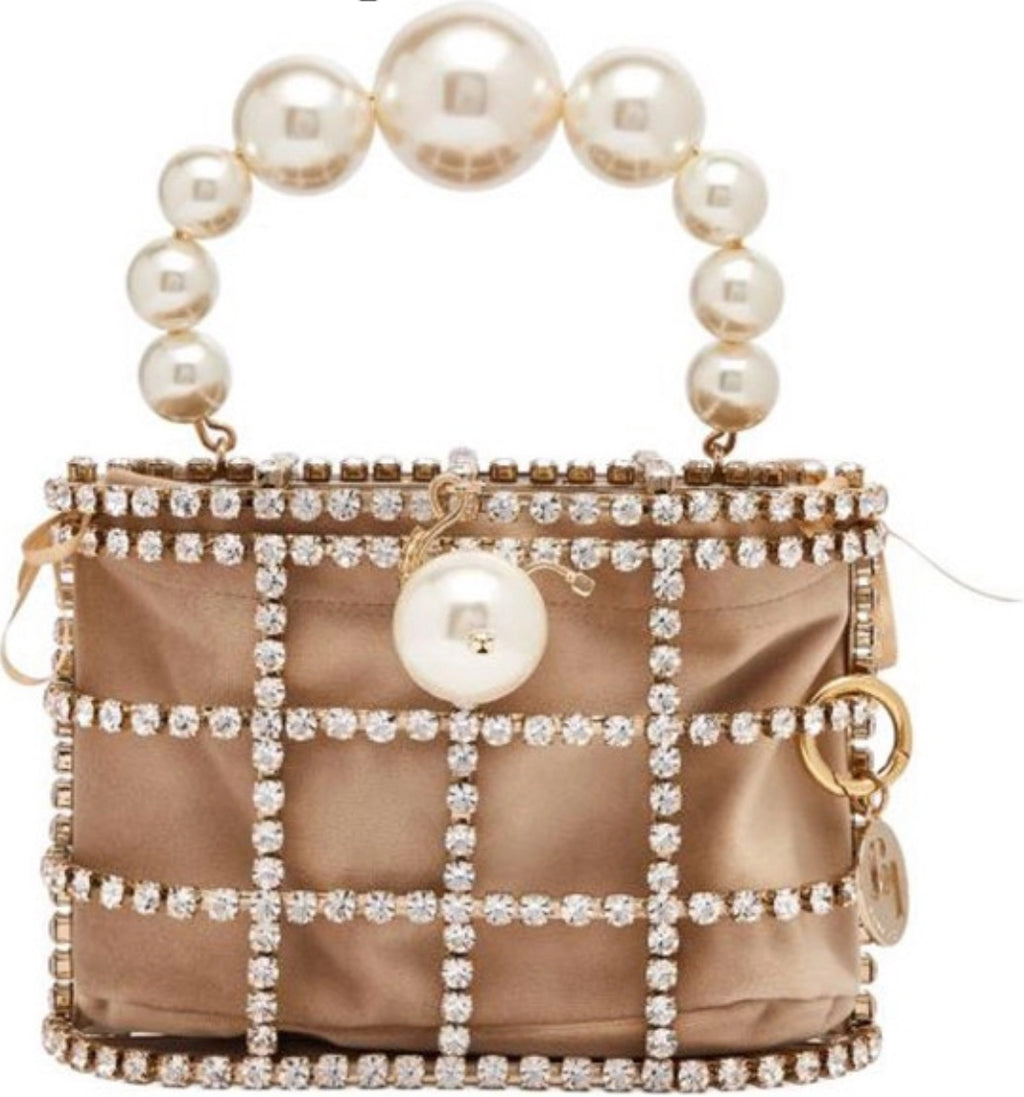 'Caged' pearl & crystal embellished bag