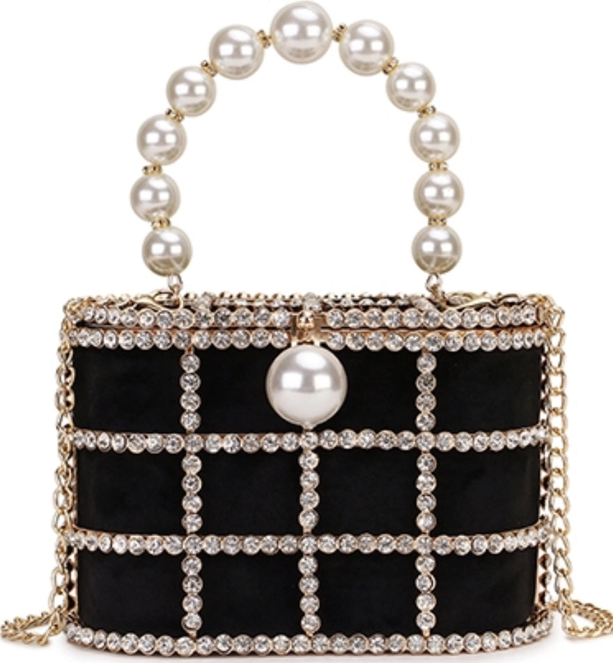 Black 'Caged' pearl & crystal embellished bag