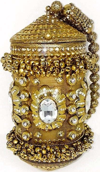 'Anfisa' antique gold metal & crystal wrist bag