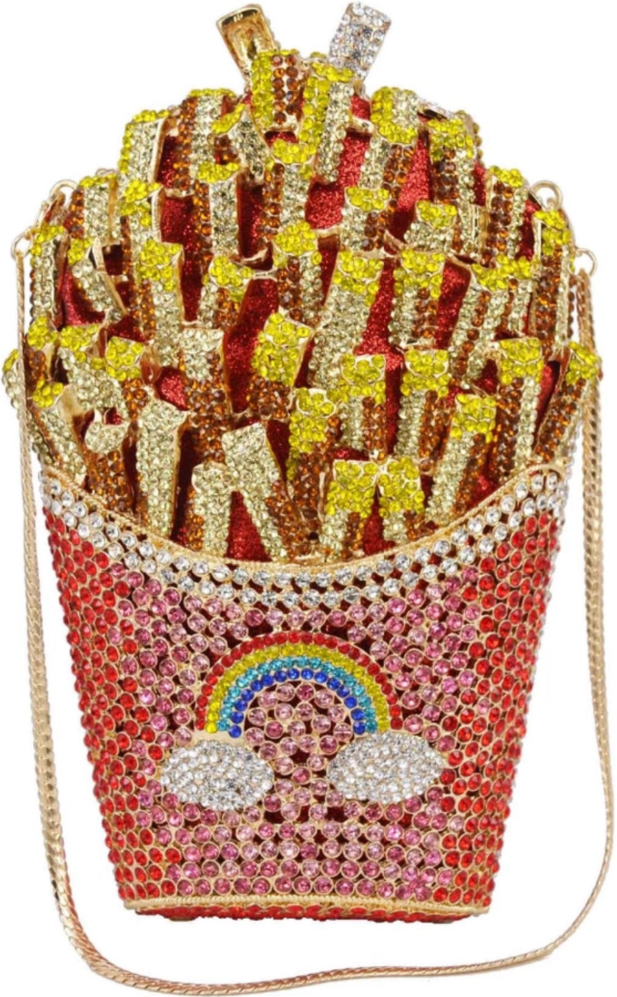 'Fries before Guys' crystal embellished clutch bag