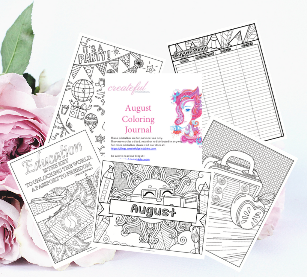 Our August Back to School Themed Coloring Pack comes with an undated calendar, so it can be used every year and it won't go out of style!   This product has 17 templates including:  Cover Page Undated Calendar I'm Grateful Page Weekly Planner Daily Planner August Menu 5 Coloring Quote Pages 7 Coloring Pages without Quotes This product is delivered as a PDF file and can be printed multiple times! Be sure to adjust the size to fit your printer for best printing results!