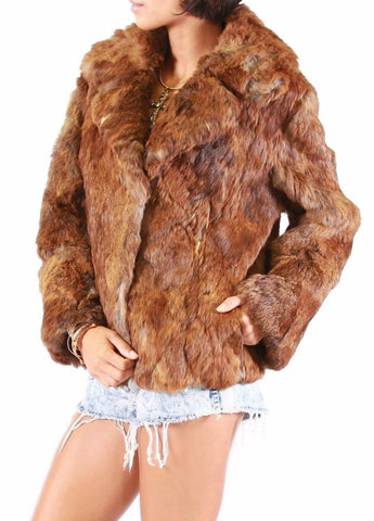 SARAH RABBIT FUR COAT - Vintage Glam Shop