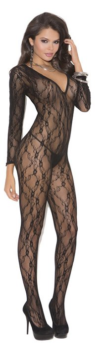 Ruffle long sleeve bodystocking (EM1619)