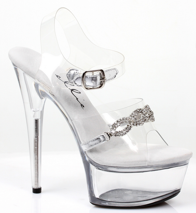 "6"" Heel Sandal with Rhinestones (ES609-TIFFANY)(Blowout)(Final Sale)"