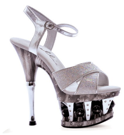 "6"" Disco Ball Crossed Strap Platform (ES629-JANIE)(Blowout)(Final Sale)"