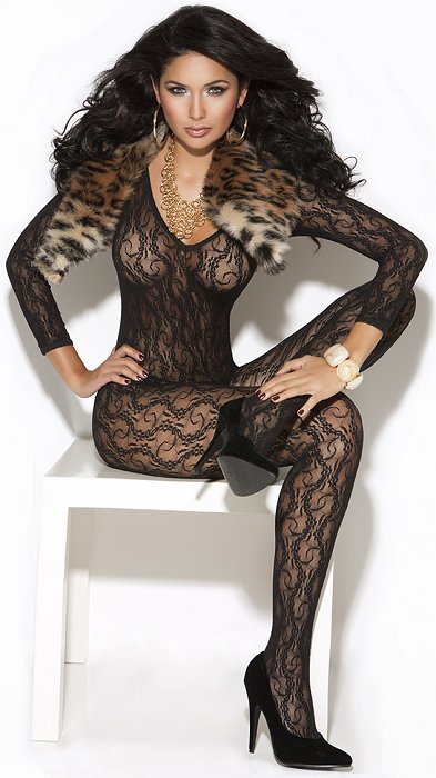 Black Lace Bodystocking (OS)(EM8503)