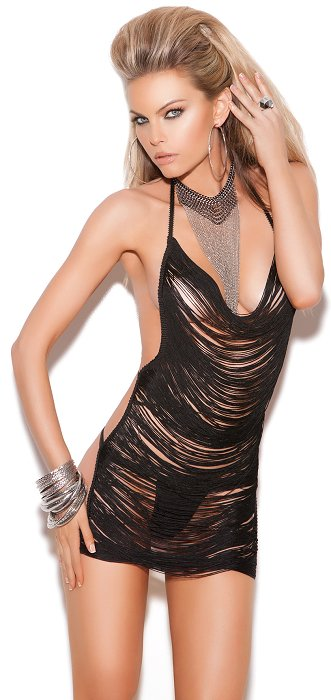 Black Fringe Mini Dress (OS) (EM8661)