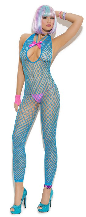 Neon Blue Footless Bodystocking (OS) (EM8752)