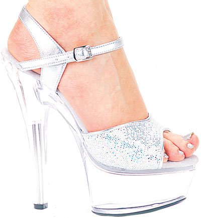 "6"" Glitter Stiletto Clear Platform (ES601-Juliet-G)(Blowout)(Final Sale)"