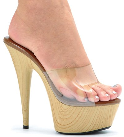 "6"" Stiletto Wood Bottom Mule (ES609-Mya-Blowout Final Sale)"