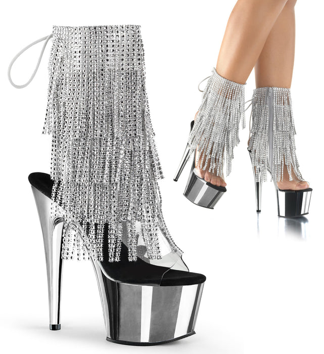 "7"" Heel Open Toe Fringe Ankle Boot (ADORE-1017RSF)"