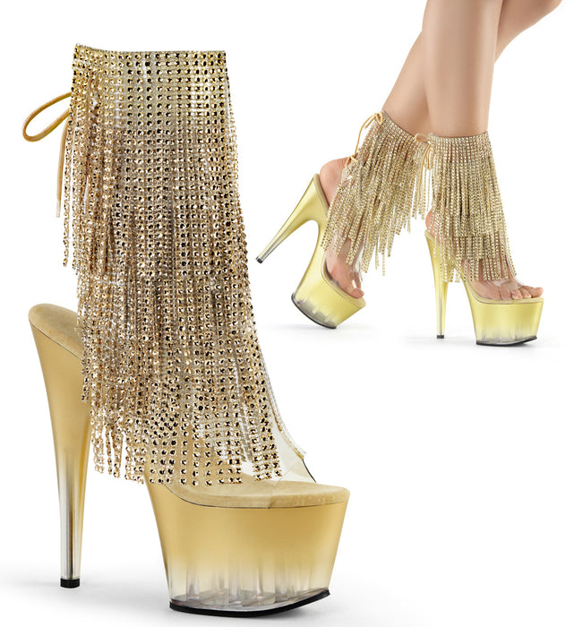 "7"" Heel Open Toe Fringe Ankle Boot (ADORE-1017RSFT)"