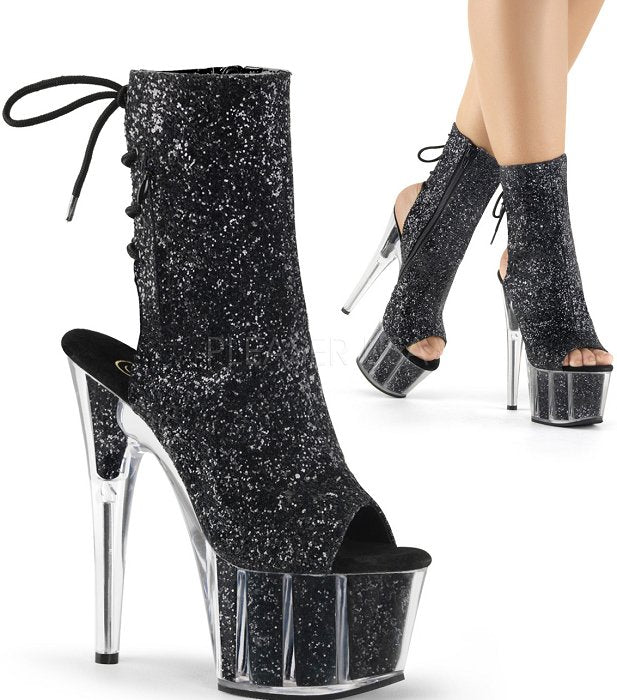"7"" Heel Glitter Open Toe  Ankle Boot(ADORE-1018G)"