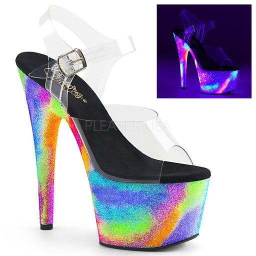 "7"" Heel Platform Ankle Strap Sandal With UV-Reactive Galaxy Glitter (ADORE-708GXY)"