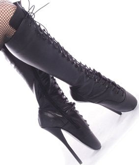 Black Leather Ballet Fetish Shoes