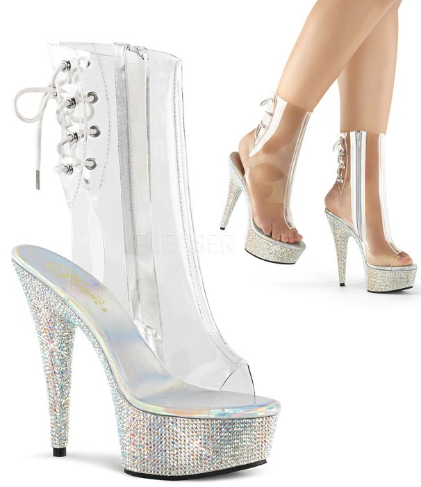 "6"" Heel Open Toe Ankle Rhinestone Boot(BEJEWELED-1018DM-6)"