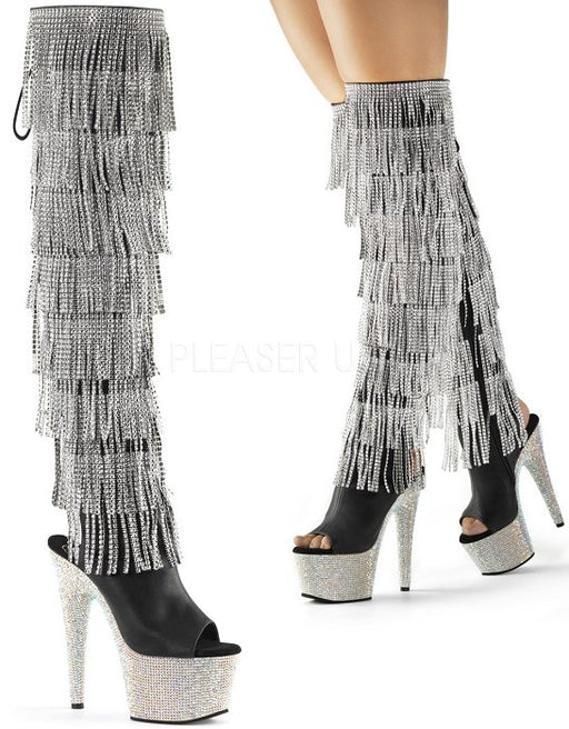 "7"" Heel Open Toe Ankle Fringe Knee Boot(BEJEWELED-3019RSF-7)"