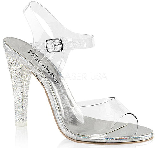 "4 1/2"" Heel Ankle Strap Sandal (CLEARLY-408MG)(Blowout Final Sale)"