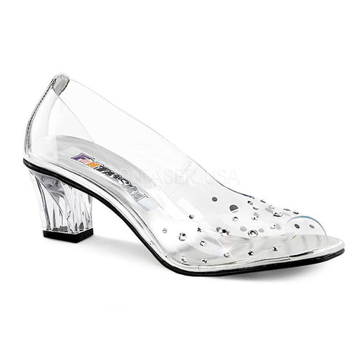 "2"" Heel Clear Lucite Peep Toe Pump (CRYSTAL-100)"